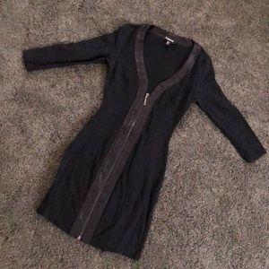 Black zip up mini dress
